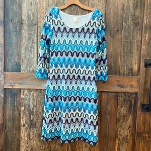 Klozlyne, M, Blue, Zig Zag, Crochet, Shift, Dress